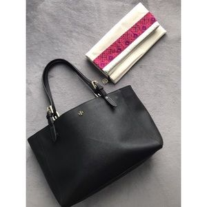 Tory Burch Black Leather Emerson Tote